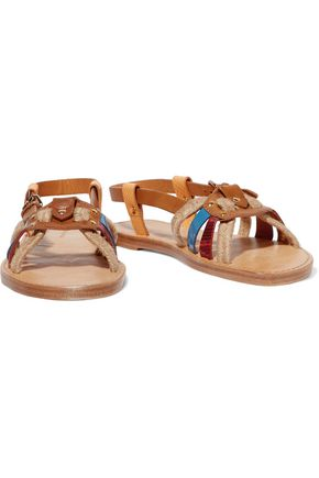 ISABEL MARANT ÉTOILE Jeana woven raffia and leather sandals