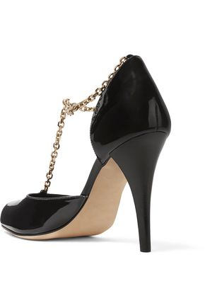 VANESSA SEWARD Carmen chain-embellished patent-leather pumps