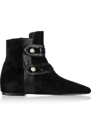 ISABEL MARANT Roddy leather-trimmed suede ankle boots