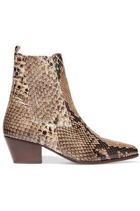 SANDRO Paris Anouck snake-print leather ankle boots