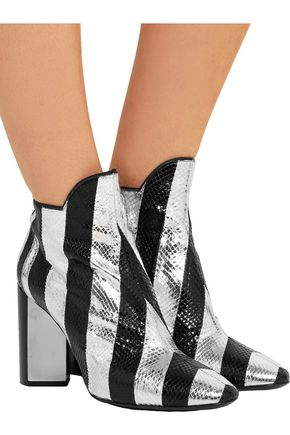PIERRE HARDY Belle striped watersnake ankle boots