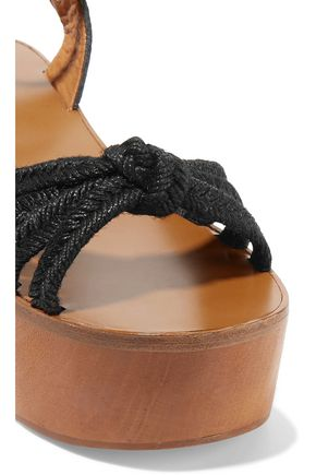 ISABEL MARANT ÉTOILE Zia paneled woven, textured and snake-effect leather wedge sandals