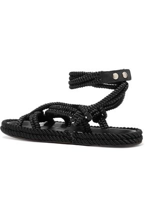 ISABEL MARANT Lou leather-trimmed braided cord sandals