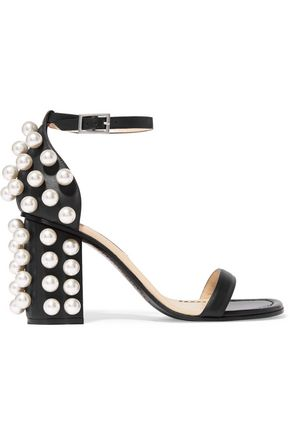 EMILIO PUCCI Faux pearl-embellished leather sandals ...