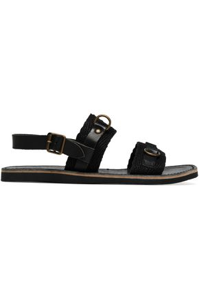 ISABEL MARANT ÉTOILE Jess paneled leather and woven sandals