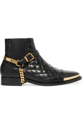 BALMAIN Embellished quilted leather ankle boots