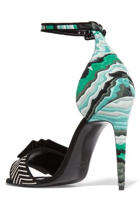 PIERRE HARDY Printed leather, textured suede and calf hair sandals