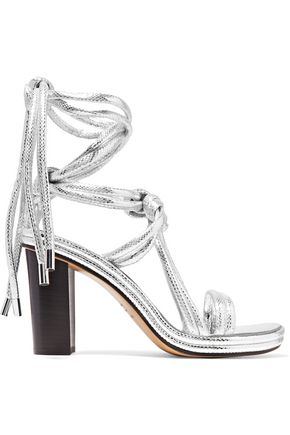 ISABEL MARANT Miana metallic snake-effect leather sandals