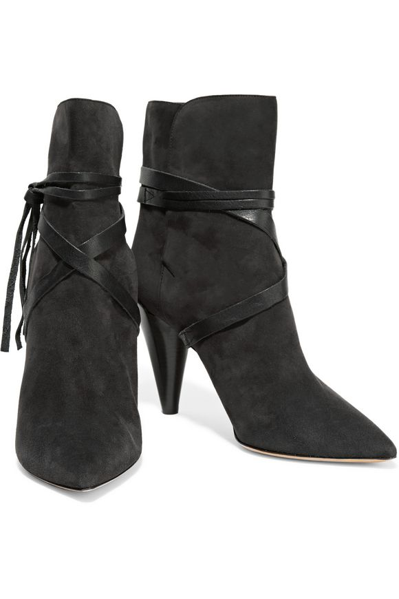 Nerys leather-trimmed suede ankle boots | ISABEL MARANT | Sale up to 70% off  | THE OUTNET