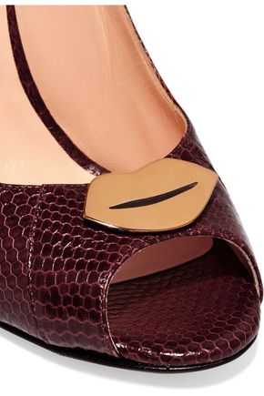 JÉRÔME DREYFUSS Juliette embellished leather wedge pumps