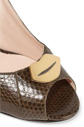 JEROME DREYFUSS Juliette embellished leather wedge pumps