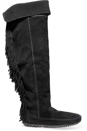 MAJE Fringed suede knee boots
