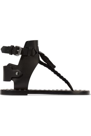 ISABEL MARANT Jep embellished leather and woven sandals