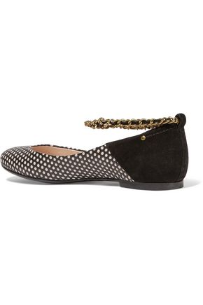 JÉRÔME DREYFUSS Aurelie suede and perforated leather ballet flats
