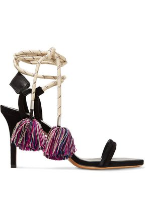 ISABEL MARANT Aura lace-up leather-trimmed suede and cord sandals