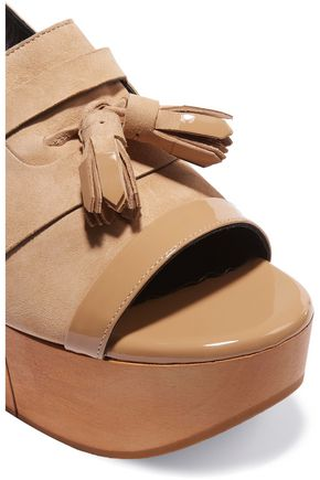 ROBERT CLERGERIE Clara patent leather-trimmed suede clogs