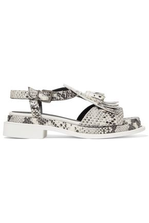 ROBERT CLERGERIE Coco fringed snake-effect leather sandals