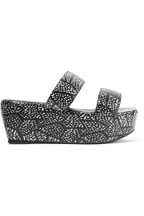 ROBERT CLERGERIE Frazziak printed snake-effect leather platform sandals
