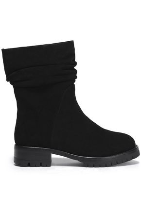 Dkny Woman Naomi Jacquard-paneled Faux Leather Ankle Boots Black Size 8 DKNY Oo5AjIpi