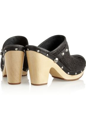 UGG AUSTRALIA Jolene leather-trimmed bouclé mules
