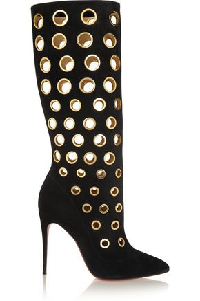 CHRISTIAN LOUBOUTIN 100 eyelet-embellished suede knee boots