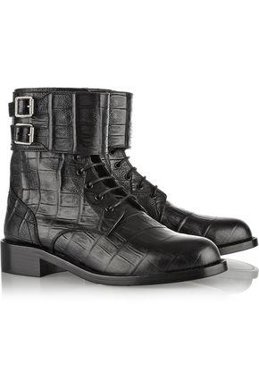 SAINT LAURENT Patti croc-effect leather ankle boots