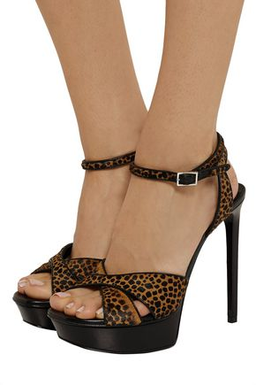 SAINT LAURENT Bianca animal-print calf hair and leather sandals