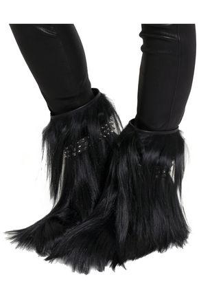 SAINT LAURENT Patti studded goat hair ankle boots
