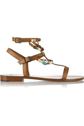 SAINT LAURENT Beaded leather sandals