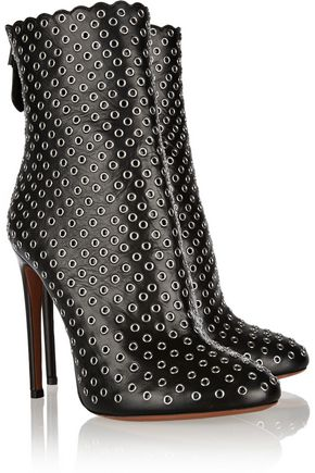 ALAÏA Eyelet-embellished leather ankle boots