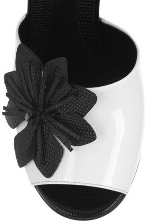 FENDI Flower-appliquéd patent-leather sandals