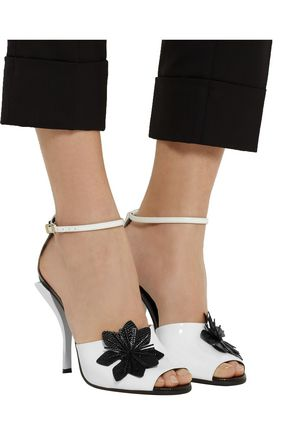 FENDI Flower-appliquéd patent-leather sandals
