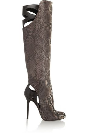 SERGIO ROSSI Cutout python and leather knee boots