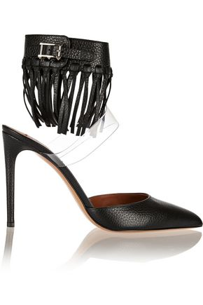 VALENTINO GARAVANI Fringed textured-leather and PVC pumps