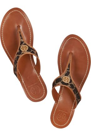 TORY BURCH Cameron leather-trimmed woven sandals
