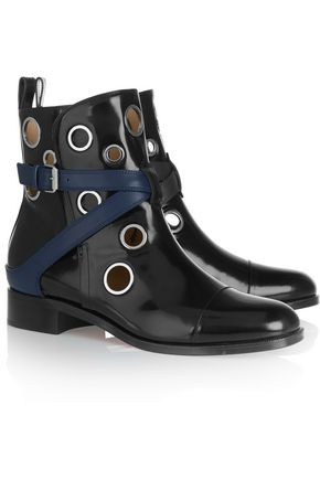 CHRISTIAN LOUBOUTIN + Jonathan Saunders Scubabootie 25 embellished glossed-leather ankle boots