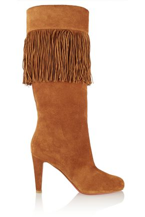 CHRISTIAN LOUBOUTIN Majung 85 fringed suede knee boots