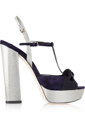 MIU MIU Metallic watersnake, suede and grosgrain platform T-bar sandals