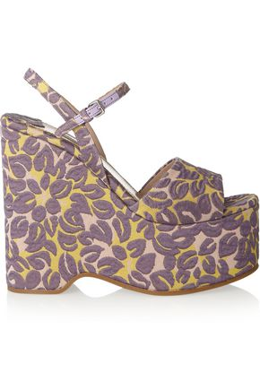 MIU MIU Floral brocade wedge sandals