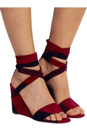 GIANVITO ROSSI Patchwork suede wedge sandals