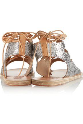 ANCIENT GREEK SANDALS Antigone glittered leather sandals