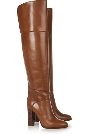 CHLOÉ Glossed-leather over-the-knee boots
