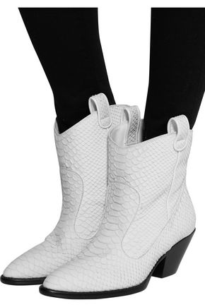 GIUSEPPE ZANOTTI Snake-effect leather ankle boots