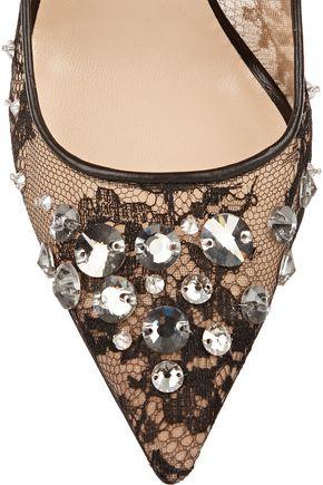 JIMMY CHOO Lyzo crystal-embellished lace pumps