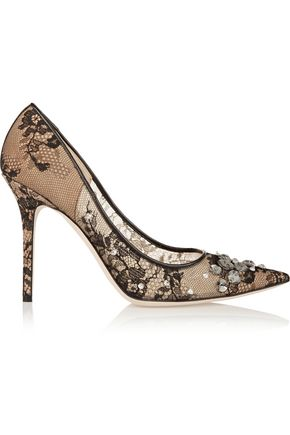 JIMMY CHOO Lyzo crystal-embellished lace pumps