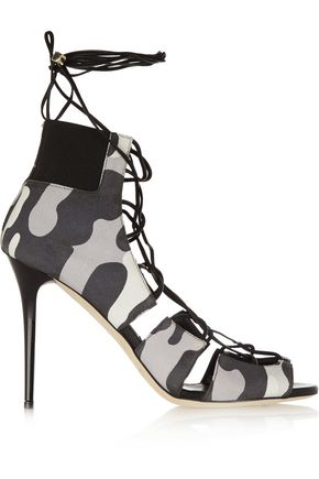 JIMMY CHOO LONDON Myrtle camouflage-print nubuck sandals