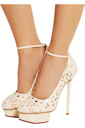 CHARLOTTE OLYMPIA Scribble Dolores cutout leather pumps