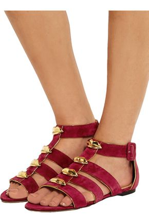 CHARLOTTE OLYMPIA One More Kiss metallic-trimmed suede sandals