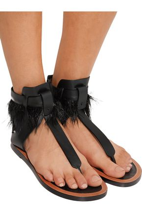 ISABEL MARANT Jadyn feather-trimmed leather sandals