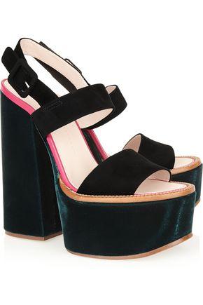 VICTORIA BECKHAM Velvet and suede platform sandals